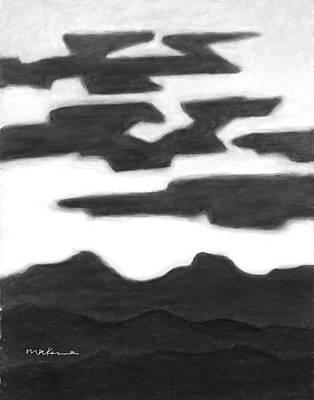 Painting - Aubergine Nightfall Black And White by Carrie MaKenna