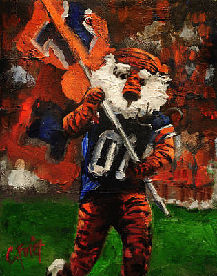 Aubie Running Flags Art Print