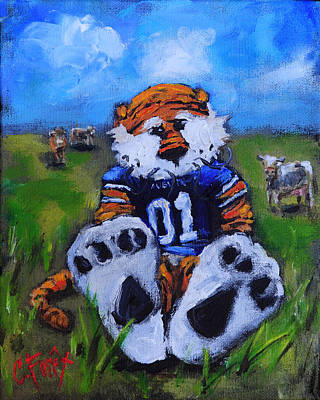 Mascot Painting - Aubie With The Cows by Carole Foret