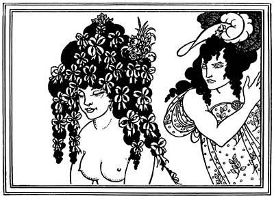Black And White Erotic Art Drawing - Aubrey Beardsley Lysistrata Illustration by Aubrey Beardsley