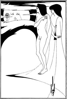 Man In The Moon Drawing - Aubrey Beardsley Woman In The Moon by