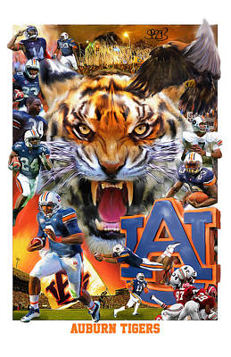 Stanford Mixed Media - Auburn Tigers by Mark Spears