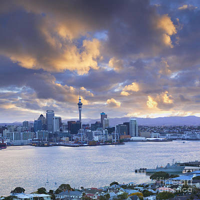 Auckland At Sunset Print by Colin and Linda McKie