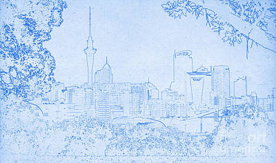 Mixed Media - Auckland City Blueprint by Celestial Images