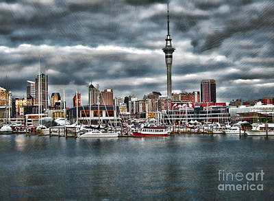 Mixed Media - Auckland City Skyline by Karen Lewis