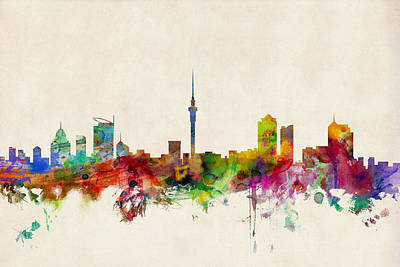Auckland Skyline New Zealand  Print by Michael Tompsett