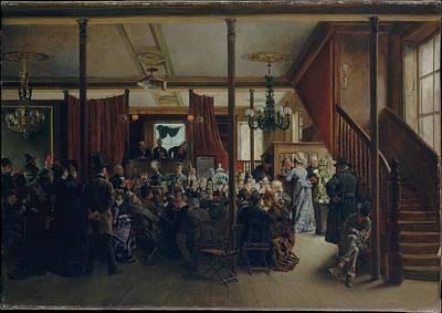 N.y Painting - Auction Sale In Clinton Hall, New York by Ignacio de Le�n y Escosura