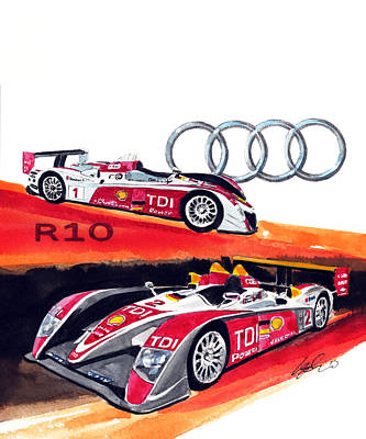 Audi Painting - Audi Le Mans Racing Car by Yoshiharu Miyakawa