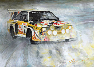 Sports Cars Painting - 1985 Audi Quattro S1 by Yuriy Shevchuk