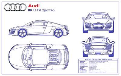 Audi Photograph - Audi R8 Blueprint by Jon Neidert