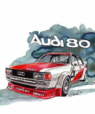80 Painting - Audi 80 Rally Car by Yoshiharu Miyakawa