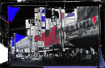 Audience Leaving Theater After Screening Of Rocky Collage Juarez Chihuahua Mexico 1977-2013 Art Print by David Lee Guss
