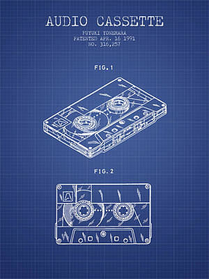 Cassette Drawing - Audio Cassette Patent From 1991 - Blueprint by Aged Pixel