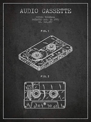 Cassette Drawing - Audio Cassette Patent From 1991 - Dark by Aged Pixel