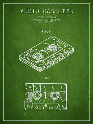 Audio Cassette Patent From 1991 - Green Art Print