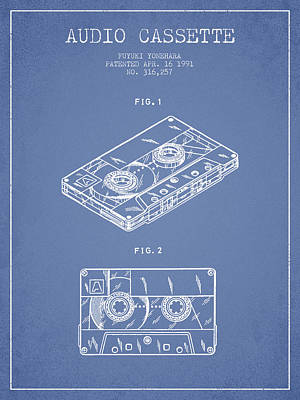Cassette Drawing - Audio Cassette Patent From 1991 - Light Blue by Aged Pixel
