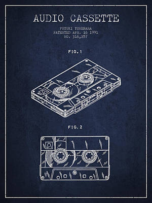 Audio Cassette Patent From 1991 - Navy Blue Art Print