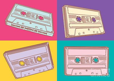 Equipment Wall Art - Digital Art - Audio Cassettes by Alex bond