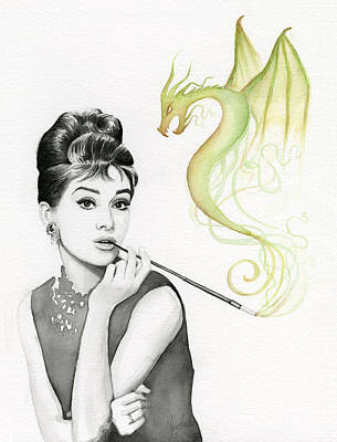 Watercolor Portraits Painting - Audrey And Her Magic Dragon by Olga Shvartsur