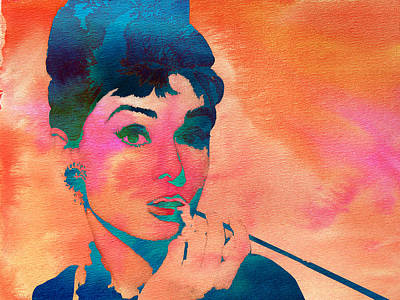 Belguim Wall Art - Painting - Audrey Hepburn 1 by Brian Reaves