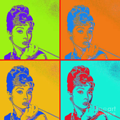 Digital Art - Audrey Hepburn 20130330v2 Four by Wingsdomain Art and Photography