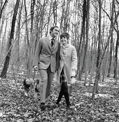 Young Man Photograph - Audrey Hepburn And Husband Walking In The Woods by Henry Clarke