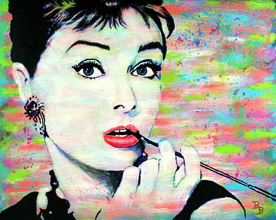 Painting - Audrey Hepburn Art Breakfast At Tiffany's by Bob Baker