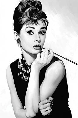 Actors Painting - Audrey Hepburn Artwork by Sheraz A