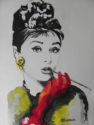Chrisann Painting - Audrey Hepburn by Chrisann Ellis