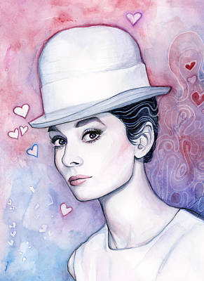 Audrey Painting - Audrey Hepburn Fashion Watercolor by Olga Shvartsur