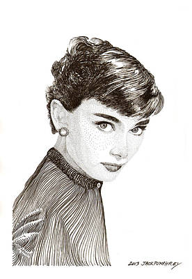 Drawing -  Audrey Hepburn by Jack Pumphrey
