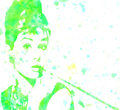 Belguim Wall Art - Digital Art - Audrey Hepburn Paint Drops by Brian Reaves