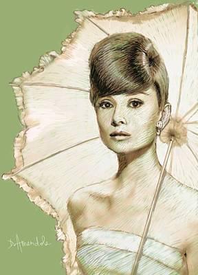 Audrey Hepburn Painting - Audrey Hepburn Portrait by Dominique Amendola