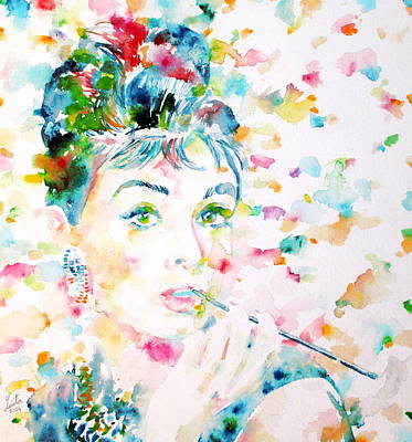Audrey Hepburn  Watercolor Portrait.3 Original by Fabrizio Cassetta