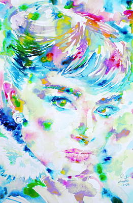 Audrey Hepburn  Watercolor Portrait.5 Original by Fabrizio Cassetta