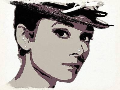 Tiffany Painting - Audrey Hepburn Poster Art by Florian Rodarte