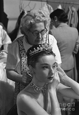 Actors Royalty-Free and Rights-Managed Images - Audrey Hepburn preparing for a scene in Roman Holiday by The Harrington Collection