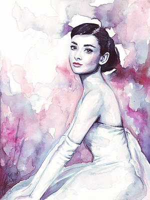 Feminine Painting - Audrey Hepburn Purple Watercolor Portrait by Olga Shvartsur