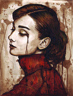 Mixed Media Art Painting - Audrey Hepburn - Quiet Sadness by Olga Shvartsur