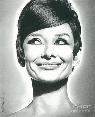 Actors Drawing - Audrey Hepburn Smile Charcoal Pencil Drawing 2012 by N Faulkner