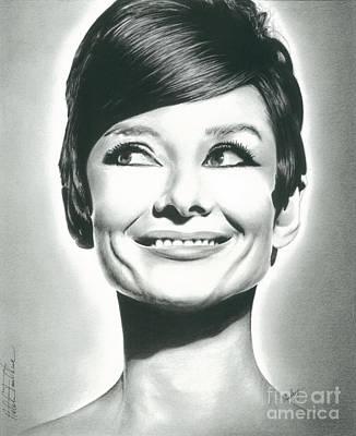 Audrey Hepburn Drawing - Audrey Hepburn Smile Charcoal Pencil Drawing 2012 by N Faulkner