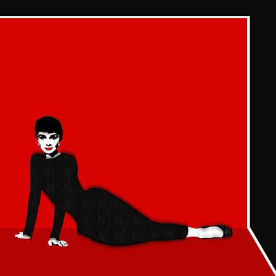 Actors Mixed Media - Audrey Hepburn Strikes A Pose by Tony Rubino