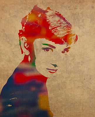 Actors Mixed Media - Audrey Hepburn Watercolor Portrait On Worn Distressed Canvas by Design Turnpike
