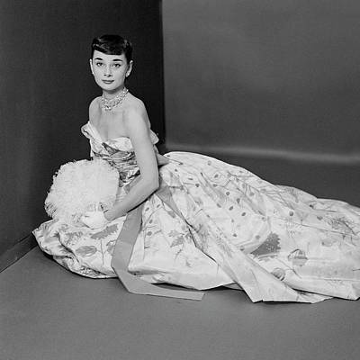 Studio Shot Photograph - Audrey Hepburn Wearing An Adrian Dress by Richard Rutledge