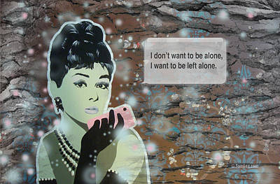 Eco Mixed Media - Audrey Hepburn With Iphone by Sam Lea