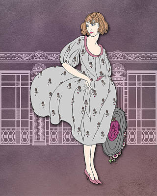 Ironwork Digital Art - Audrey In Gray And Rose by Nancy Lorene