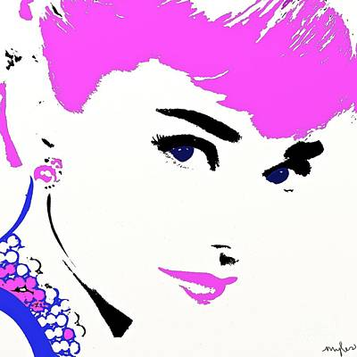 Painting - Audrey So Beautiful In Pink And Blue by Saundra Myles