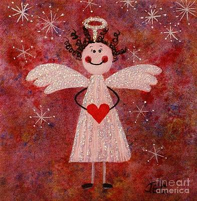 Art Print featuring the painting Audrey The Angel by Jane Chesnut