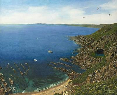 August Afternoon At Whitsand Bay Cornwall Original by Richard Harpum