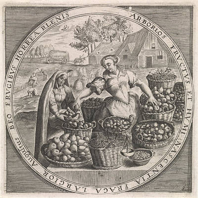 Virgo Drawing - August Fruit Vendor, Anonymous, Crispijn Van De Passe by Anonymous And Crispijn Van De Passe (i) And Maerten De Vos